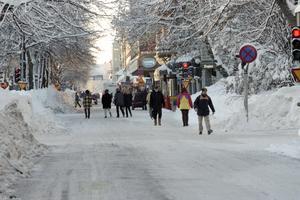 Bilden är tagen strax innan bilförbudet i centrala Gävle hävdes på måndagen den 14 december. Foto: Bernd Büttner
