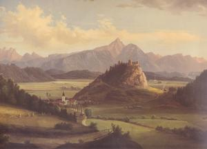 Den österrikiske Marcus Pernhart målning över trakten kring Peter Handkes hemstad Griffen i Kärnten.