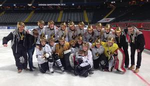 AIK firar SM-guldet 2014. Två år senare står klubben tillfälligt utan damlag och man förlorar elitserieplatsen. Foto: Niclas Green / TT
