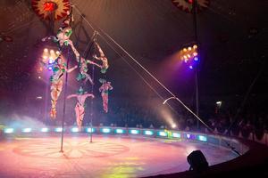 Akrobaterna bjöd på flera spektakulära inslag under kvällen.