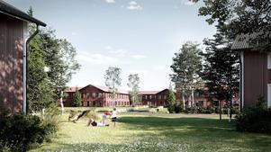 En visionsbild av hur det kan komma att se ut i Mats Knuts om sommaren. Illustration: Borlänge kommun