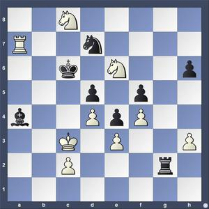 Lösning: 1.Kc4 Lxc2 2.Tc7 (Även 2.Sd8)