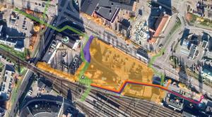 Det gulmarkerade området kommer att vara avstängt för allmänheten. De gröna markeringarna visar var gångstråken kommer att vara. Bild: Skifu