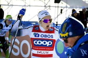 Stina Nilsson vid ett tidigare tillfälle. På lördagen slog hon Therese Johaug på upploppet under masstarten på 10 km. Bild: Ulf Palm/TT.