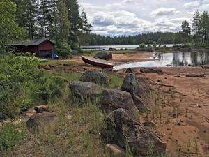 Längs Närssjön syns konsekvenserna av tappningen av sjön tydligt