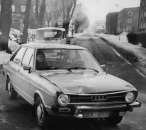 En sprillans ny Audi med Hildingson på passagerarplats. Foto: Lasse Halvarsson