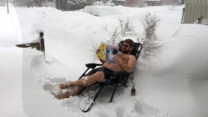 Björn Wennberg, från Alnö, i sin snö- och feberyra.  Till bilden lade Björn till bildtexten