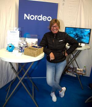 Som vanligt på glatt humör var Lena Westerlund i Nordeas monter.
