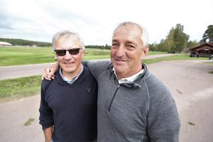 Bekanta som återses under Rättviksveckan. Lennart Karlsson från Rättviks GK och Conny Gustavsson från Grönlunds GK (Almunge, Uppsala):