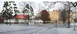 I vinkel mot Kristineskolan skulle kulturhuset Falun planerade uppföras.