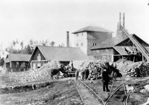 Trummelsbergs bruk runt 1900. Det har bedrivits järnbruk i Trummelsberg under två historiska perioder. Den första inleddes 1622 och pågick till början av 1800-talet. Pelarna som är bevarade byggdes under den andra perioden när bruket moderniserades från 1866 och framåt. Foto: Jernkontoret bildbank