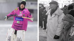 Bandyn har gått i arv i familjen Wasberg. Pappa Ingvar (t.h.) var ledare under det framgångsrika 1960-talet och sonen Dennis (t.v.) har under 17 säsonger varit burväktare i Broberg. I dag ingår han i ledarstaben.