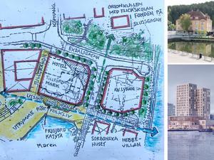 Debattörerna föreslår att det planerade hotellkomplexet flyttas något längre norrut – för att rädda Marens vattenspegel och ändå skapa utrymme för folkliv.