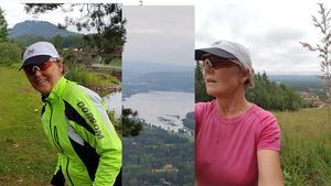 Eva Nordlund, 61 år, utmanar sig med att springa och cykla uppför Getberget.