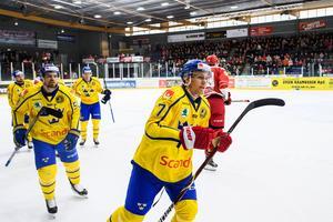 Anton Wedin gjorde 14 mål i SHL:s grundserie och två i kvalet. Nu har han gjort sitt första i Tre Kronor-karriären också. Bild: Petter Arvidsson/Bildbyrån.