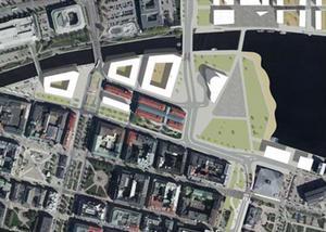 En bild av hur Norrstenstan kan se ut i framtiden. På Fisktorget, Busstorget, P-däcket och i Inre hamnen planeras det för nya stadskvarter. Gamla E4 har fått en ny dragning vid Sjögatan och i hamnen planeras det för ett nytt hotell.  Bild: Sundsvalls Kommun