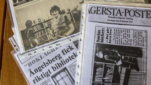 Sonja blev intervjuad många gånger av lokaltidningen under sin tid som bibliotekarie i Ängelsberg. Självklart har hon sparat massa urklipp.