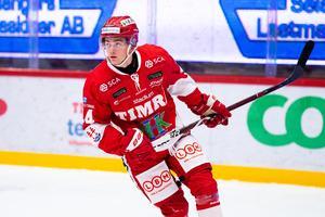 Det blev förlust i torsdagens match mot Växjö med 5–1, men Filip Sjöberg var ändå glad efter SHL-debuten. Foto: Pär Olert/Bildbyrån.