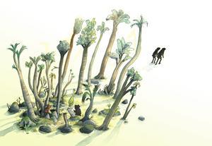 Eva och Adam lämnar Eden.  Illustration av Marcus-Gunnar Petterssons i  nya