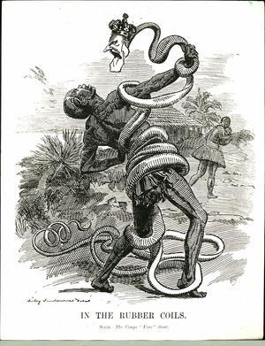 En bitsk satirteckning av britten Edward Linley Sambourne från 1906 kritiserar Leopold II övergrepp på den kongolesiska befolkningen.