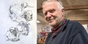 Skulptören Sam Westerholm får Konstnärsklubbens pris. Teckningen är dock från ett av Skulptörförbundets möten.