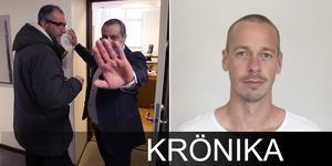 Bråket började när reportern Johan Järvestad, till höger, tog bilden till vänster på Abo Raad och Rabie Karam.