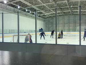 Rasmus Dahlin laddar för strafftävling i Kwandongs träningsrink.