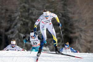 Maria Nordström var snabbast av de svenska åkarna i damernas masstart. Bild: TT