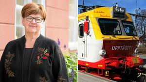 Centerpartisterna Carola Gunnarsson och Barbro Larsson ska åka tåg genom hela Västmanland på 11 timmar. Foto: Montage