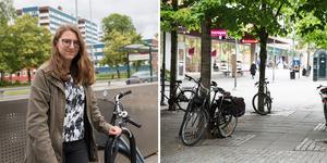 Maria Wikenståhl har varit med och arbetat fram Södertälje kommuns nya cykelplan, just nu kikar de på nya och säkrare alternativ för  cykelparkeringar.