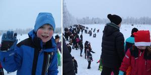 Tomtehoppet uteblev på grund av snötäcket, men Holger Fredholm var en av hundratals barn som fick godis ändå.