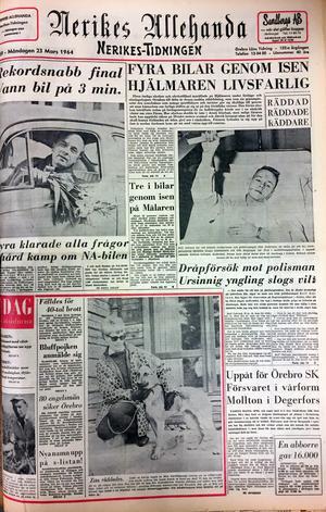 Nerikes Allehandas förstasida den 24 mars 1964. Längst upp till höger handlar det om misshandeln på Järntorget. Foto: NA