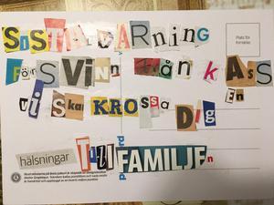 Den 12 december damp det här hotfulla vykortet ner i lärarens brevlåda.Foto: Smedjebackens kommun