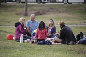 Många såg ut att trivas med både sällskap och miljö i Kyrkparken och flera familjer och grupper passade på att njuta av en picknick i det gröna.