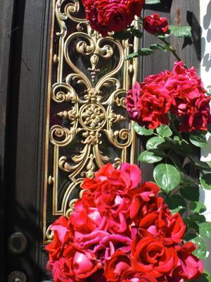 En vacker dörr och vackra rosor hittade jag i Visby.