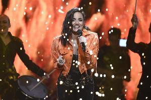 Mimi Werner inför Melodifestivalens andra deltävling, i februari 2018. Foto Claudio Bresciani/TT