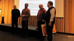Alf Lerner, Ola Bergqvist, Latti Östlund och Torbjörn Eriksson, ordförande i samfällighetsföreningen.