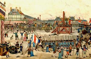 Jakobinledaren Maximilien Robespierres blodtörst slog till slut tillbaka mot honom själv och hans eget  huvud kapades av giljotinens klinga 1794. Okänd konstnär.