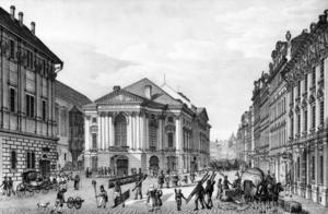 Stavovské divadlo 1835. Gravyr av Vincenc Morstadt.
