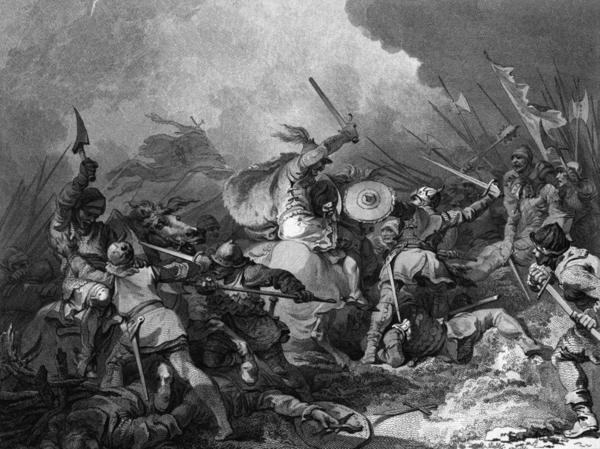 Vilhelm Erövraren och hans normander besegrar anglosaxarna i slaget vid Hastings 1066. Striden är skildrad av konstnären Philip James de Loutherbourg i den skotske filosofen David Humes stora verk