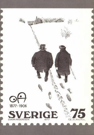"""Ingen borgmästarstig, men samma idé. 1977 kom tecknaren OAs bild """"Artighet"""" på frimärke, i valörerna svart (75 öre) och röd (3:80). Czeslaw Slania var gravör."""