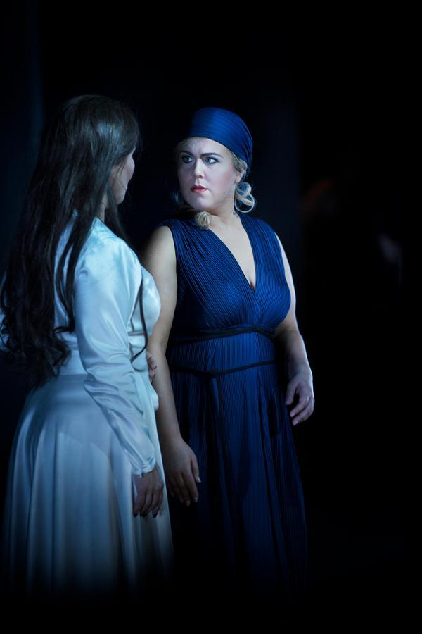 Katarina Dalayman gör Amneris och Christina Nilsson hennes rival, Aida.Foto: Markus Gårder