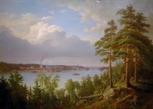 Den här tavlan målad från Klappavik, sitter på rådhusets andra våning i Söderhamn.