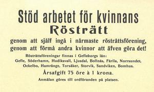 Flygblad som det här delades ut i Gävleborg för att fler skulle engagera sig i rösträttsfrågan. Foto: Arkiv Gävleborg.