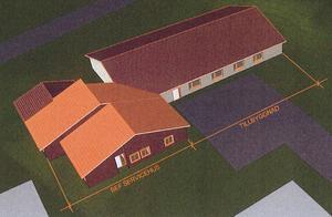 Ritningen från ett annat håll där man ser de två nya huskropparna bakom den befintliga servicebyggnaden. Ritning: MAF Arkitekter
