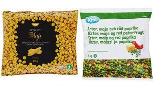 Produkterna som återkallas är Coop frysta majskorn 450 gram och Coop Xtra Ärtor, majs och röd paprika 1 kg. Foto: Coop