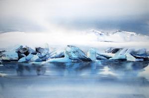 Ann Larsson-Dahlin har inspirerats till sina akvarellmålningar av resor till Island.