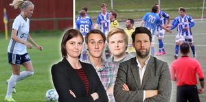 Carl Juborg, till höger, imponeras över engagemanget hos tidningens sportredaktion. Jessica Eriksson, Christopher Grönlund och Martin Lidholm är sportreportrar på Norrtelje Tidning.
