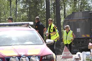 Johan Szymanski på ledningsplatsen strax innan staben flyttas första gången när elden kom emot dem under söndagen.