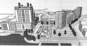 Steam hotel, det nya torget och 15-våningshuset, enligt Peabs och Kokpunktens visioner. Det nya huset hamnar dock inom en skyddszon där man inte får bygga.  Illustration: Sweco